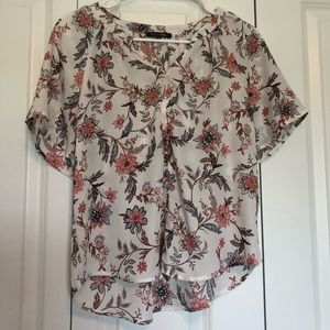 Floral split neck blouse